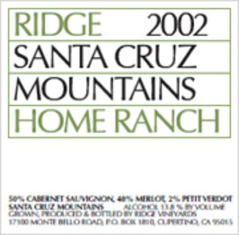 Ridge Home Ranch 2002 Front Label
