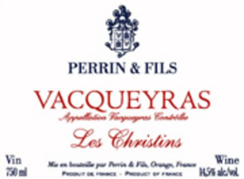 Famille Perrin Les Christins Vacqueras 2004 Front Label