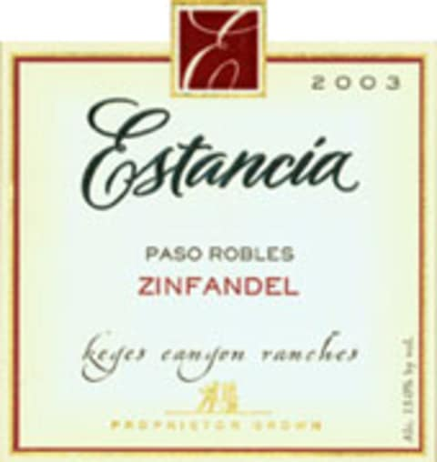 Estancia Paso Robles Zinfandel 2003 Front Label