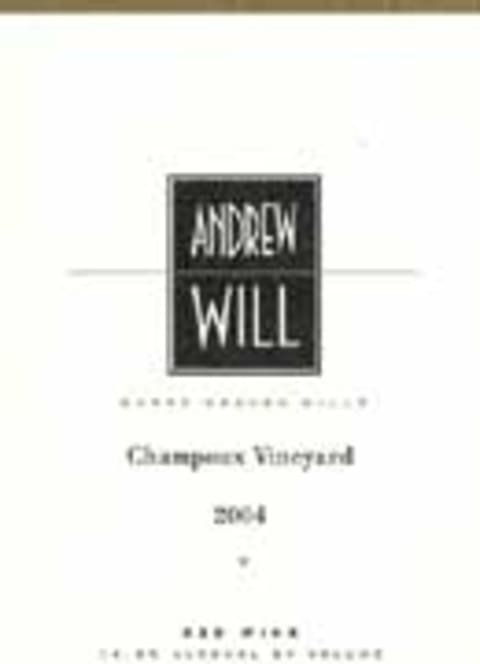 Andrew Will Winery Champoux Vineyard Horse Heaven Hills 2004 Front Label