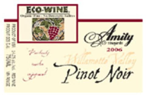 Amity Eco-Wine Pinot Noir (sulfite-free) 2006 Front Label