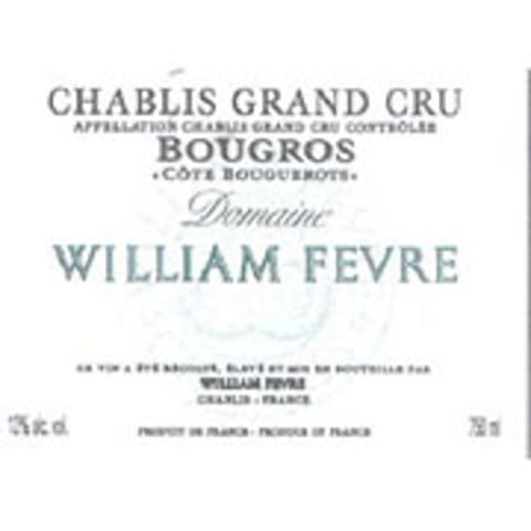 William Fevre Chablis Bougros Cote Bouguerots Grand Cru 2004 Front Label