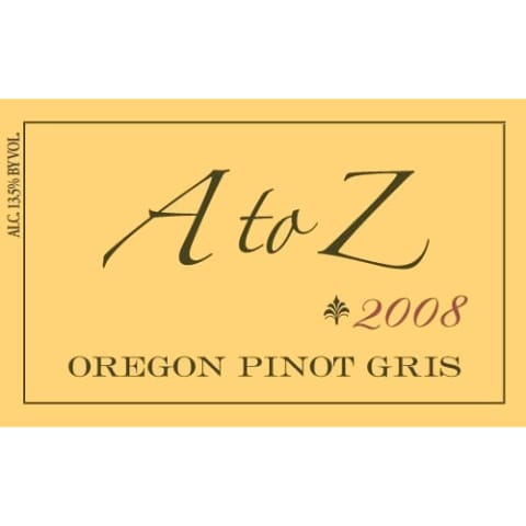 A to Z Pinot Gris 2008 Front Label