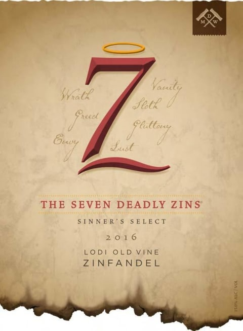 7 Deadly Zins Zinfandel (375ML Half-bottle) 2016 Front Label