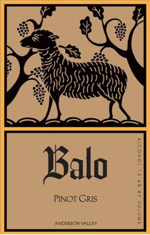 Balo Anderson Valley Pinot Gris 2017  Front Label