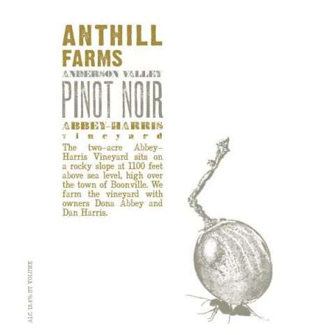 Anthill Farms Abbey-Harris Vineyard Pinot Noir 2016  Front Label