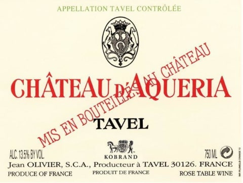 Chateau D'Aqueria Tavel Rose 2018 Front Label
