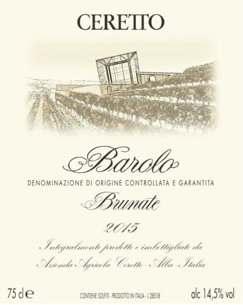 Ceretto Brunate Barolo 2015  Front Label