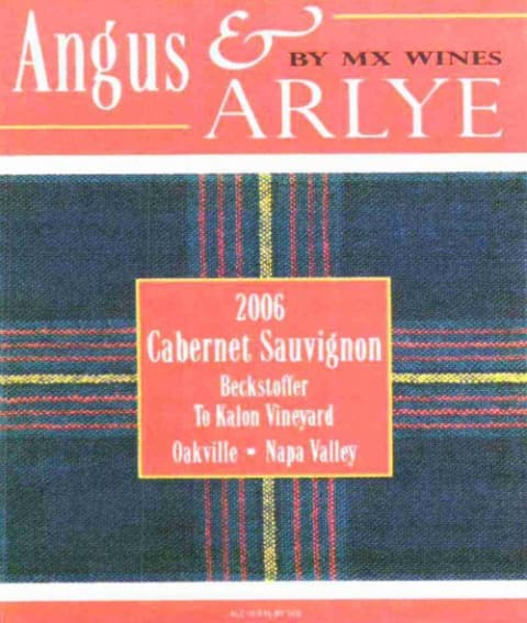 MX Wines Angus & Aryle Beckstoffer To Kalon Vineyard (1.5 Liter Magnum) 2006  Front Label