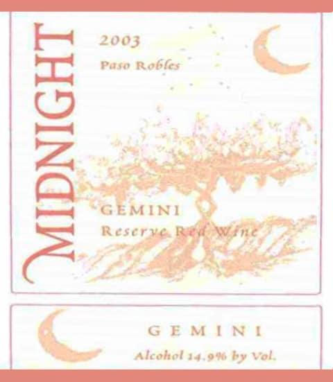 Midnight Cellars Winery Gemini Reserve 2003