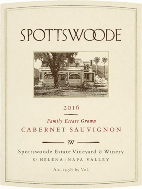 Spottswoode Cabernet Sauvignon (375ML half-bottle) 2016 Front Label