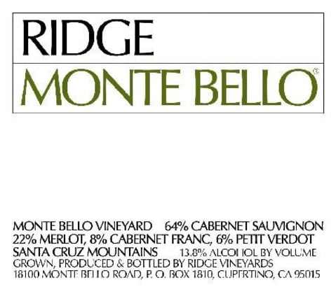 Ridge Monte Bello (1.5 Liter Magnum) 2015 Front Label
