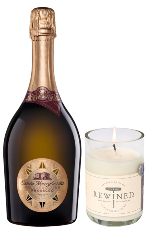 wine.com 90+ Point Prosecco & Candle by Rewined Gift Product Image