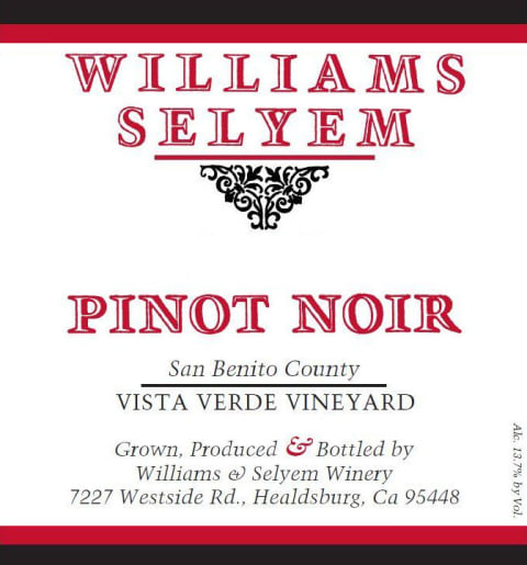 Williams Selyem Vista Verde Vineyard Pinot Noir 2016  Front Label