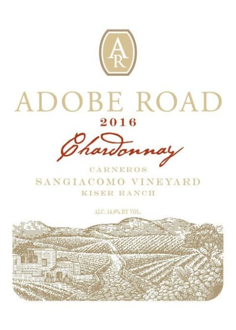 Adobe Road Chardonnay Kiser Ranch 2016  Front Label
