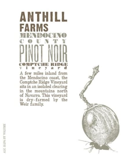 Anthill Farms Comptche Ridge Vineyard Pinot Noir 2017  Front Label