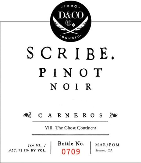 Scribe Carneros Pinot Noir 2017 Front Label