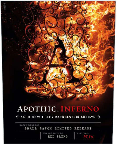 Apothic Inferno Aged in Whiskey Barrels 2016 Front Label