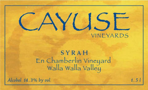Cayuse En Chamberlin Syrah 2018  Front Label