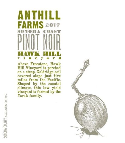 Anthill Farms Hawk Hill Vineyard Pinot Noir 2017  Front Label