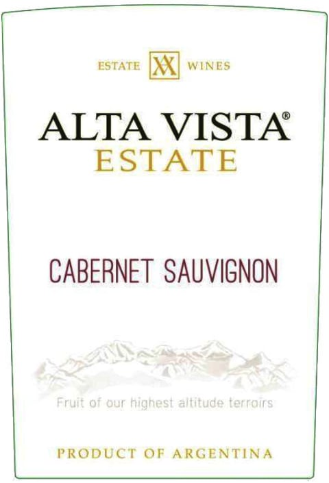 Alta Vista Estate Cabernet Sauvignon 2018 Front Label