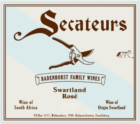 Badenhorst Secateurs Rose 2018 Front Label