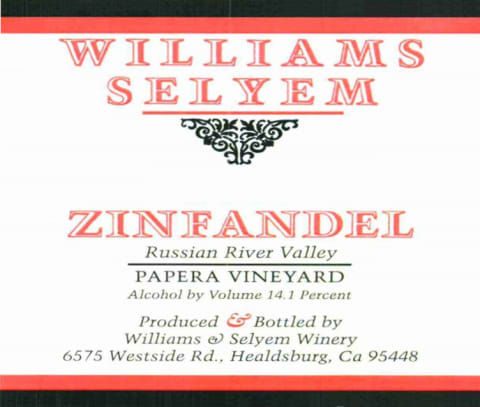 Williams Selyem Papera Vineyard Zinfandel 2017 Front Label