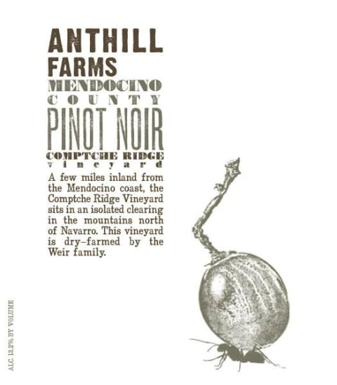 Anthill Farms Comptche Ridge Vineyard Pinot Noir 2018  Front Label