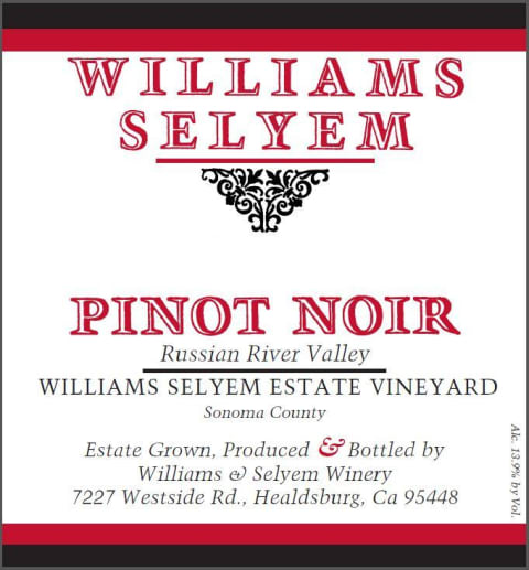 Williams Selyem Estate Vineyard Pinot Noir 2017  Front Label