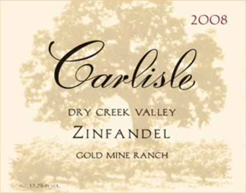 Carlisle Dry Creek Valley Zinfandel Gold Mine Ranch 2008  Front Label