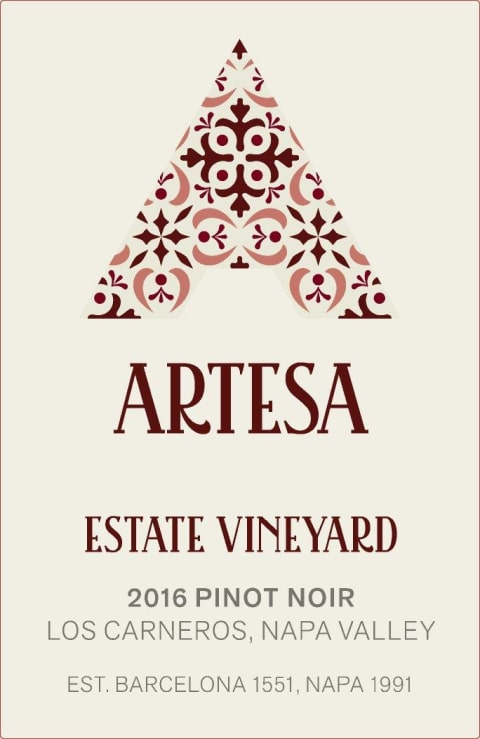 Artesa Estate Pinot Noir 2016  Front Label