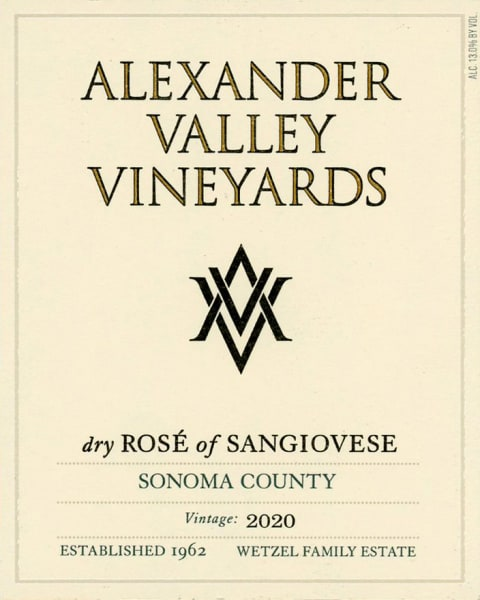 Alexander Valley Vineyards Dry Rose of Sangiovese 2020  Front Label