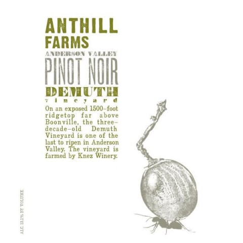 Anthill Farms Demuth Vineyard Pinot Noir 2016 Front Label