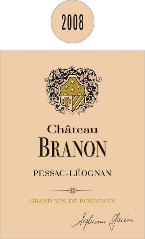 Chateau Branon  2008  Front Label