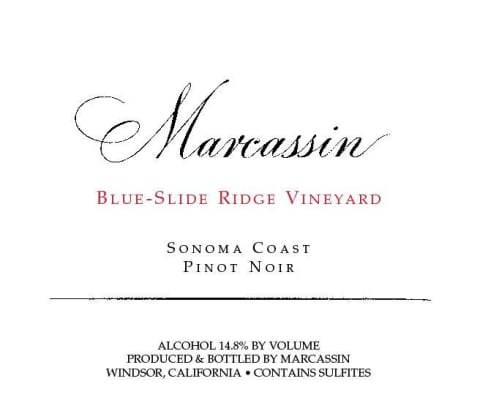 Marcassin Blue Slide Ridge Pinot Noir 1999  Front Label