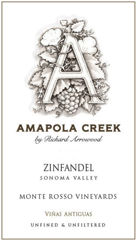 Amapola Creek Monte Rosso Vineyard Zinfandel 2015 Front Label