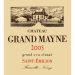 Chateau Grand Mayne  2005 Front Label