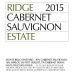 Ridge Estate Cabernet Sauvignon (375ml half bottle) 2015 Front Label