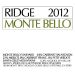 Ridge Monte Bello (3 Liter Bottle) 2012 Front Label