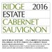 Ridge Estate Cabernet Sauvignon (375ML Half-bottle) 2016 Front Label
