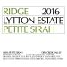 Ridge Lytton Estate Petite Sirah 2016 Front Label