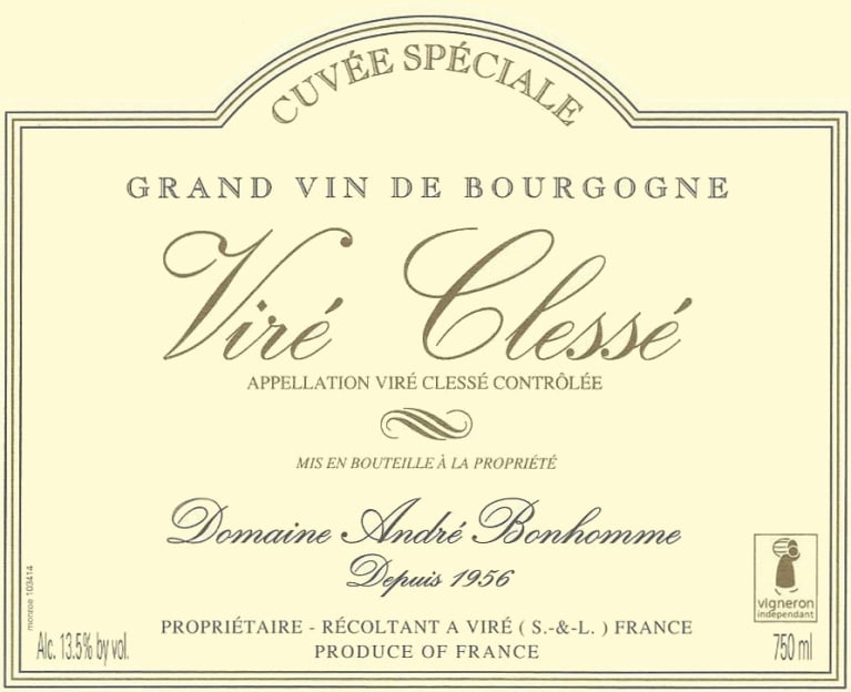 Andre Bonhomme Vire-Clesse Cuvee Speciale 2016 Front Label