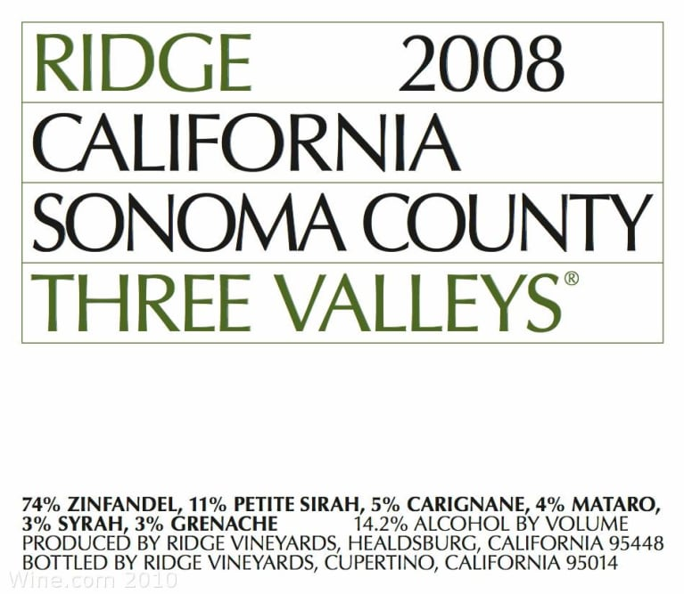 Ridge Three Valleys Red 2008 Front Label