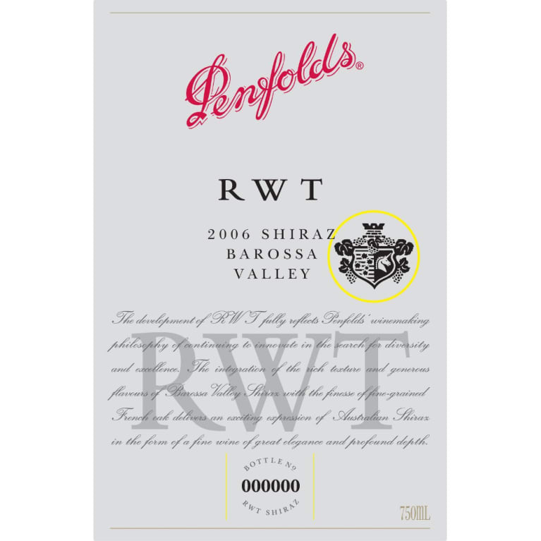 Penfolds RWT Shiraz 2006 Front Label