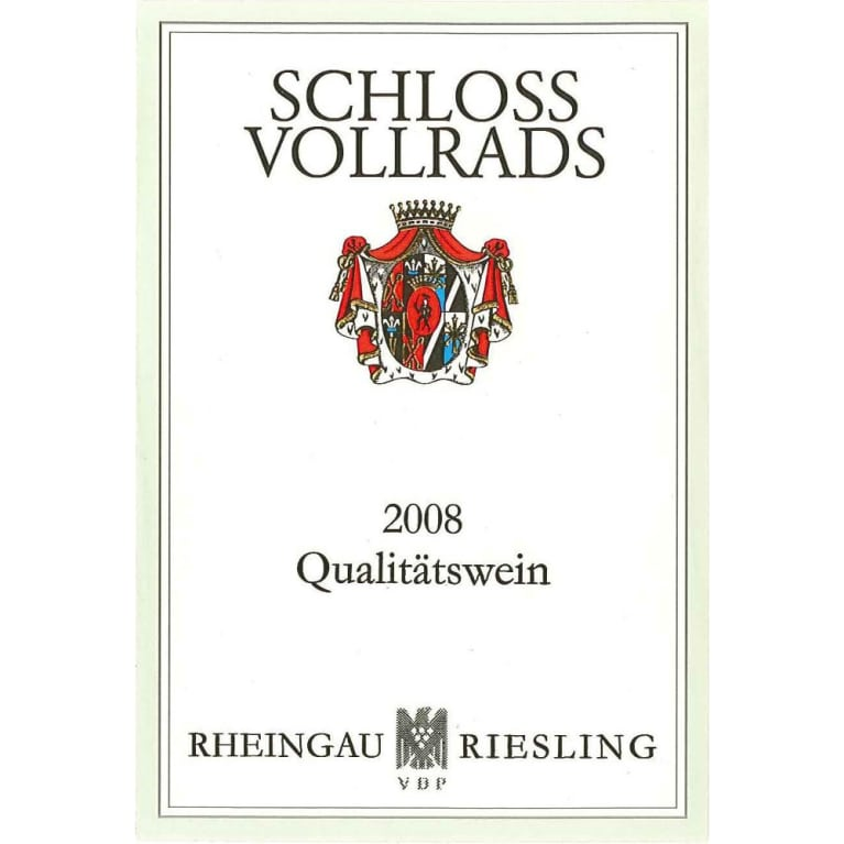 Schloss Vollrads Riesling QbA 2008 Front Label