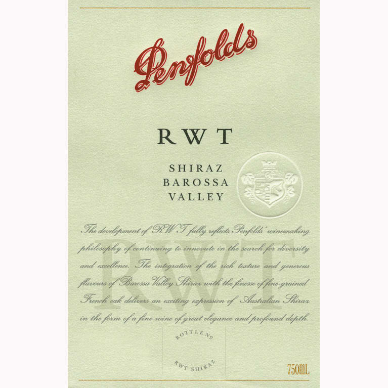 Penfolds RWT Shiraz 2007 Front Label