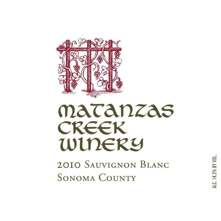 Matanzas Creek Sonoma County Sauvignon Blanc (375ML half-bottle) 2010 Front Label