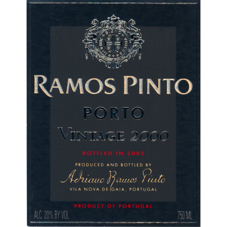 Ramos Pinto Vintage Port 2000 Front Label