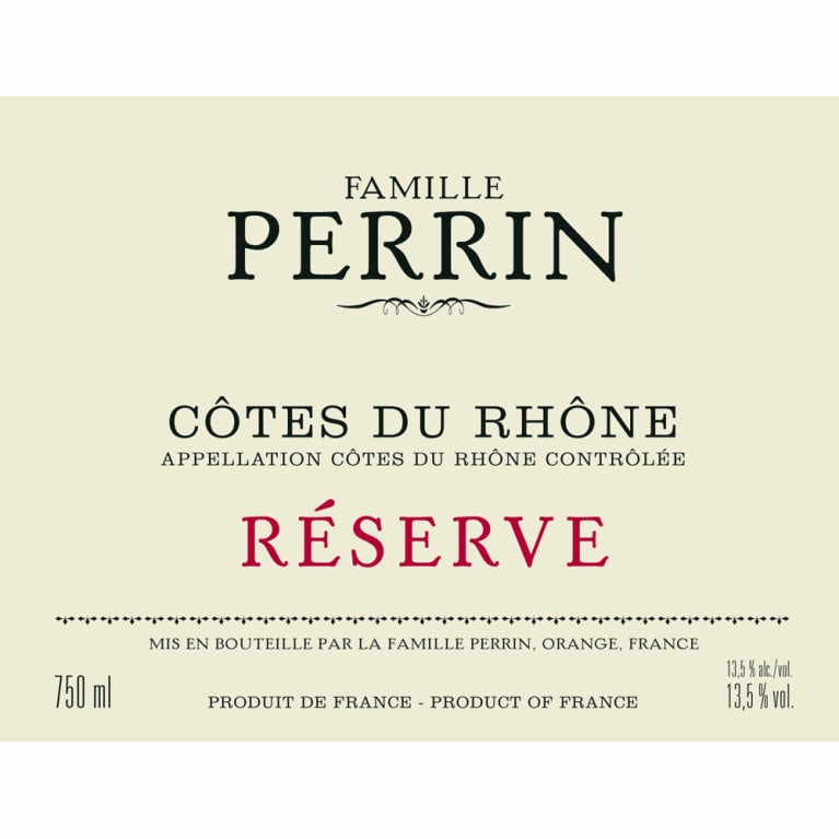 Famille Perrin Reserve Cotes du Rhone Rouge 2010 Front Label