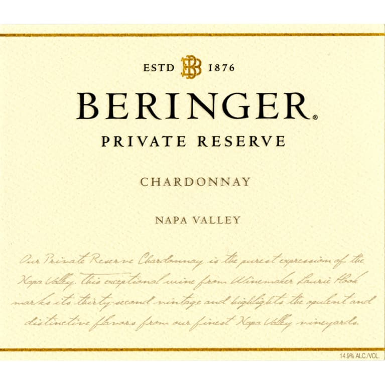 Beringer Private Reserve Chardonnay 2010 Front Label